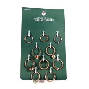 Wild Fable Set of 10 Rings Rose Gold Color NWT